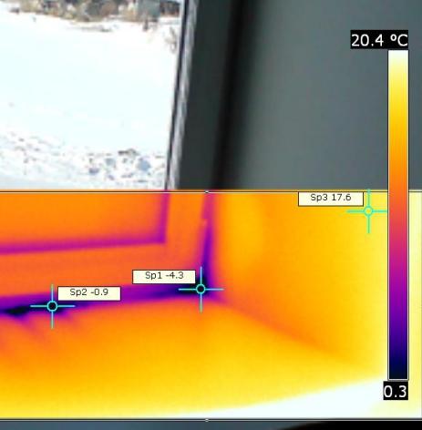 Тепловизионного обследования окна дома