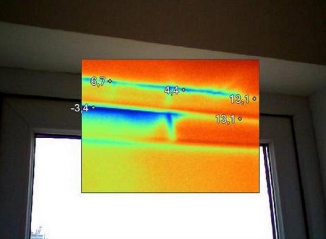 Тепловизионного обследования верх окна